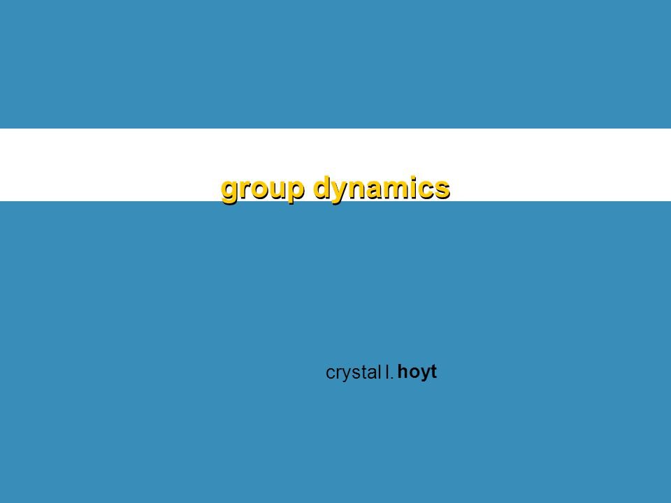 group dynamics crystal l. hoyt