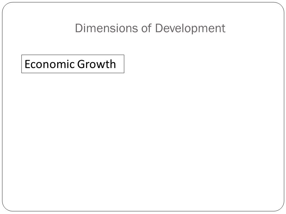 Dimensions of Development Economic Growth
