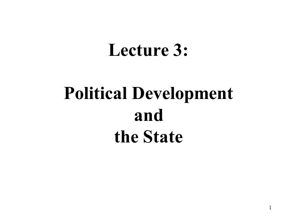 1 Lecture 3: Political Development and the State