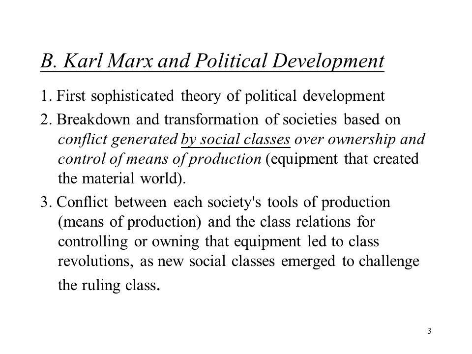 3 B. Karl Marx and Political Development 1. First sophisticated theory of political development 2.