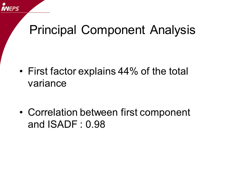 Principal Component Analysis First factor explains 44% of the total variance Correlation between first component and ISADF : 0.98