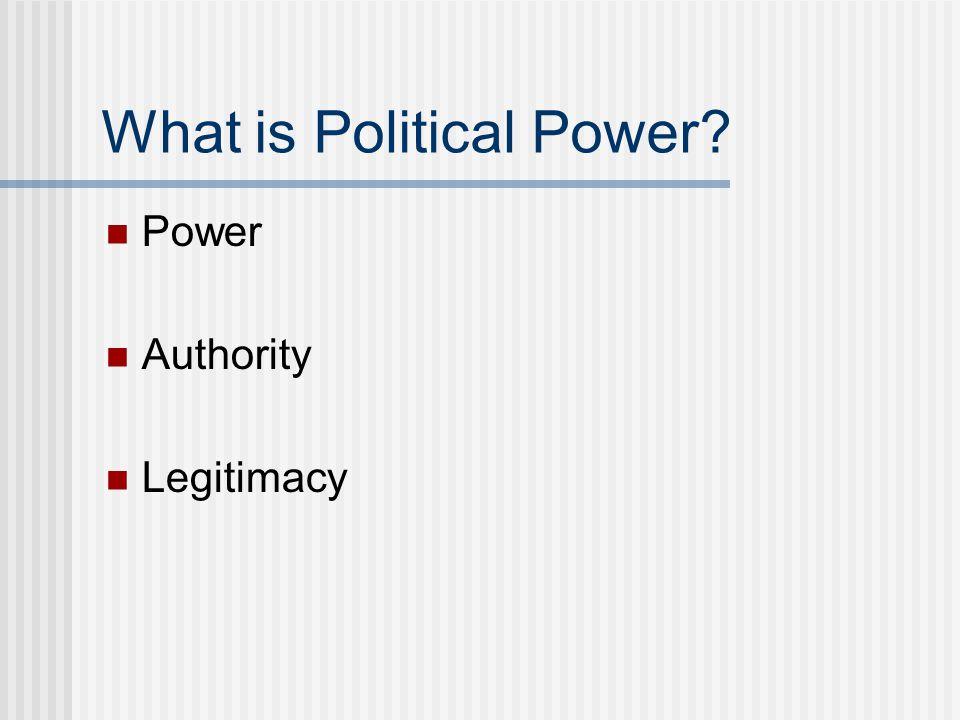 What is Political Power? Power Authority Legitimacy