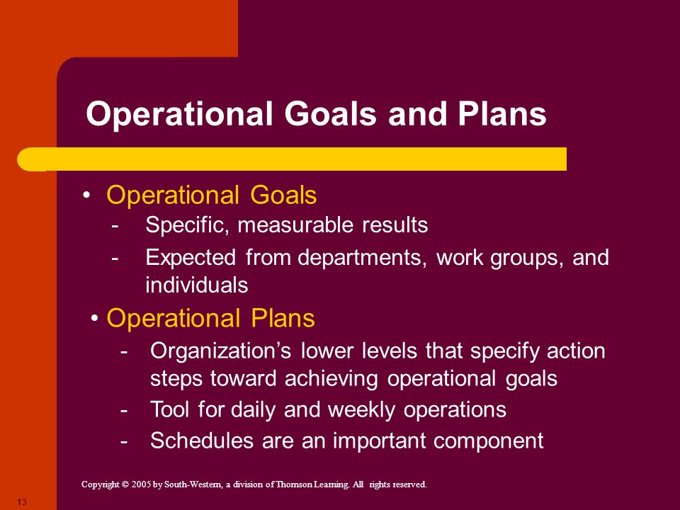 Copyright © 2005 by South-Western, a division of Thomson Learning. All rights reserved. 13 Operational Goals and Plans Operational Goals -Specific, me