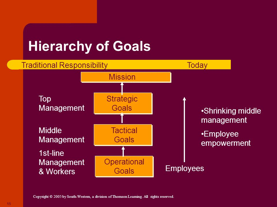 Copyright © 2005 by South-Western, a division of Thomson Learning. All rights reserved. 15 Hierarchy of Goals Operational Goals Tactical Goals Strateg