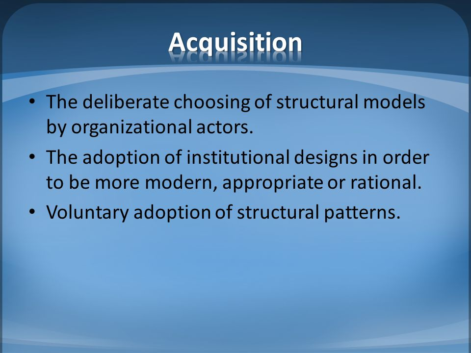 In some situations imprinting occurs where the structure of the organization follows the basic logic common to most organizations in the same environment at the time of the organizations founding.