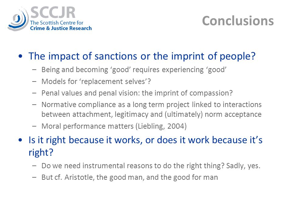 Conclusions The impact of sanctions or the imprint of people.