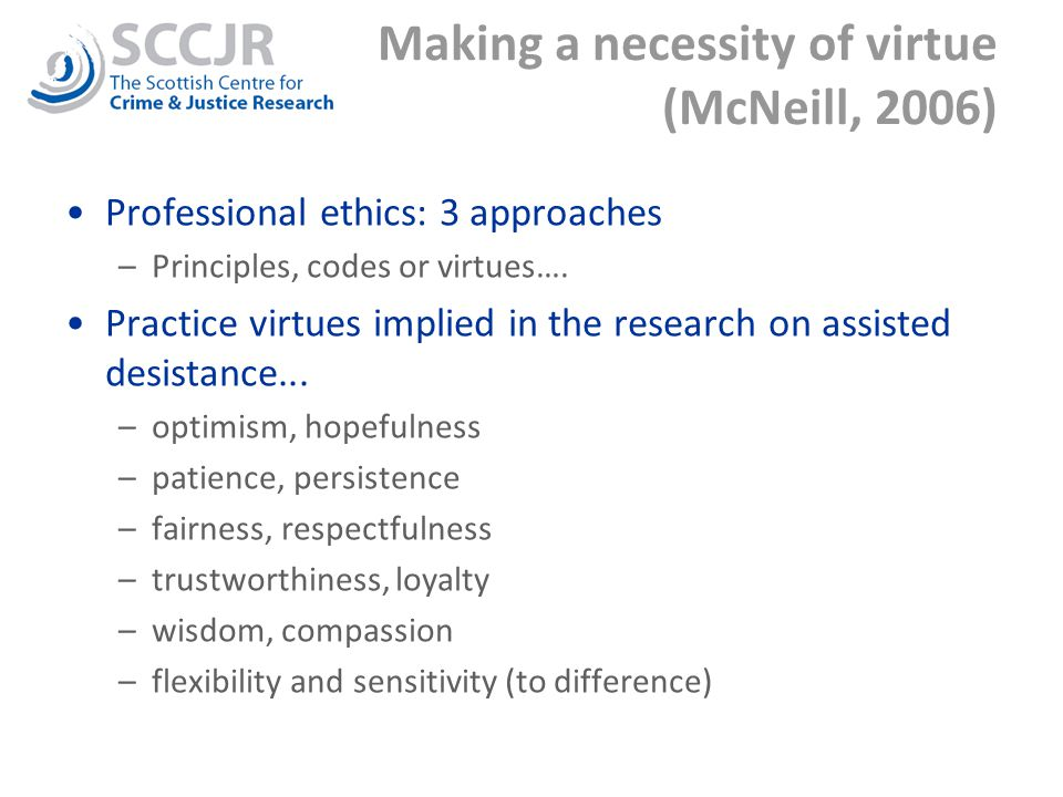 Making a necessity of virtue (McNeill, 2006) Professional ethics: 3 approaches –Principles, codes or virtues….