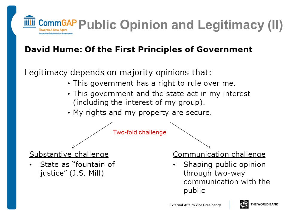 Public Opinion and Legitimacy (II) David Hume: Of the First Principles of Government Legitimacy depends on majority opinions that: This government has a right to rule over me.