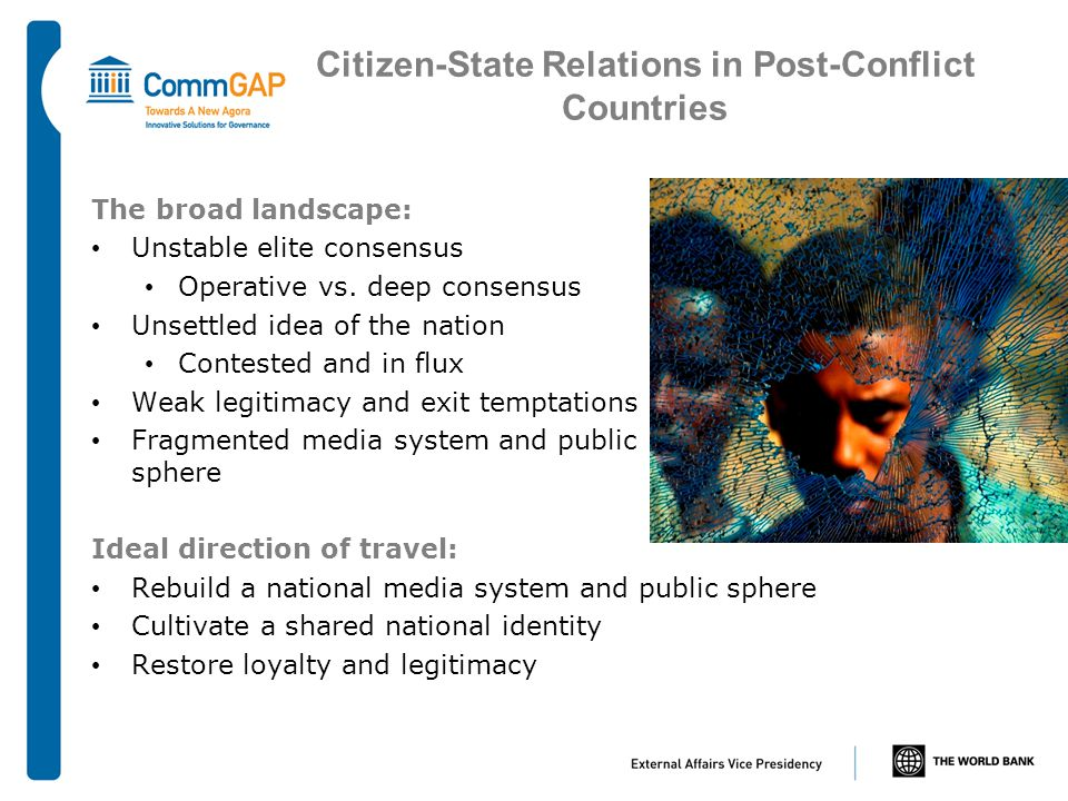 Citizen-State Relations in Post-Conflict Countries The broad landscape: Unstable elite consensus Operative vs.