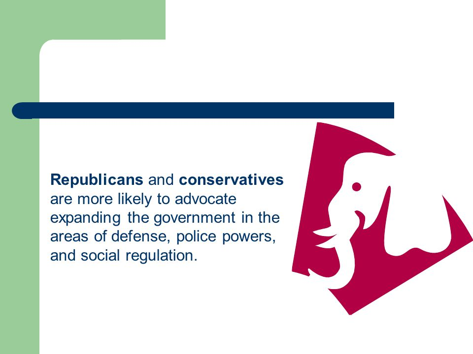 Republicans and conservatives are more likely to advocate expanding the government in the areas of defense, police powers, and social regulation.