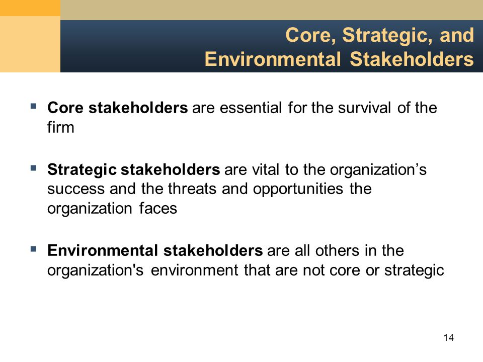 14 Core, Strategic, and Environmental Stakeholders  Core stakeholders are essential for the survival of the firm  Strategic stakeholders are vital to the organization's success and the threats and opportunities the organization faces  Environmental stakeholders are all others in the organization s environment that are not core or strategic