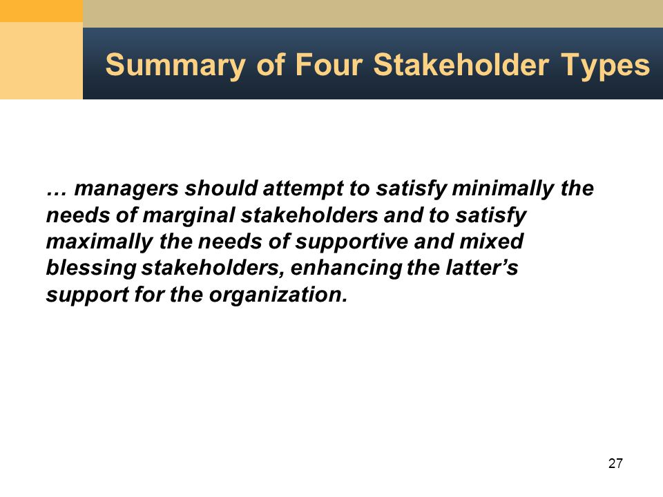 27 Summary of Four Stakeholder Types … managers should attempt to satisfy minimally the needs of marginal stakeholders and to satisfy maximally the needs of supportive and mixed blessing stakeholders, enhancing the latter's support for the organization.