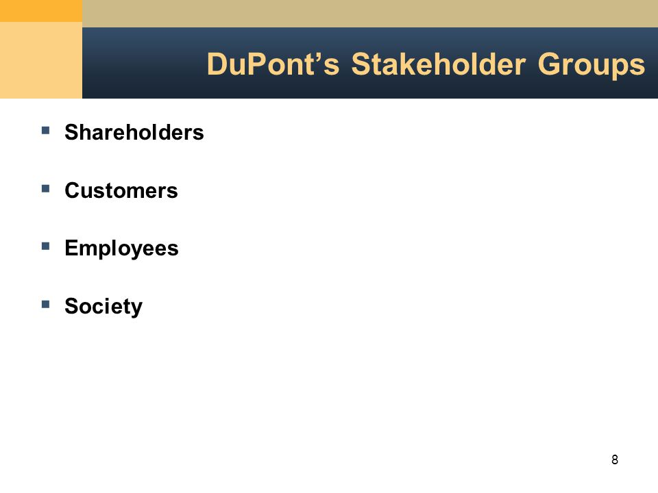 8 DuPont's Stakeholder Groups  Shareholders  Customers  Employees  Society