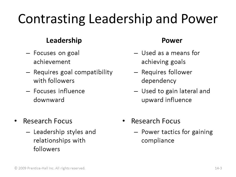 Contrasting Leadership and Power Leadership – Focuses on goal achievement – Requires goal compatibility with followers – Focuses influence downward Re