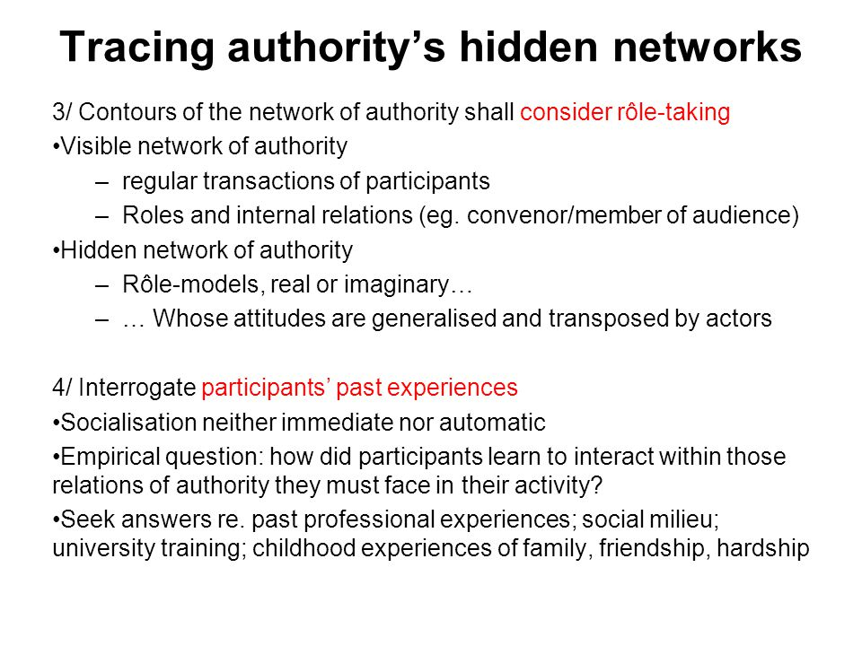 Tracing authority's hidden networks 3/ Contours of the network of authority shall consider rôle-taking Visible network of authority –regular transactions of participants –Roles and internal relations (eg.