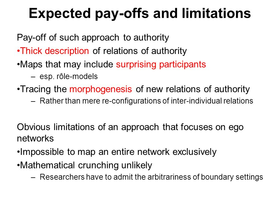 Expected pay-offs and limitations Pay-off of such approach to authority Thick description of relations of authority Maps that may include surprising participants –esp.