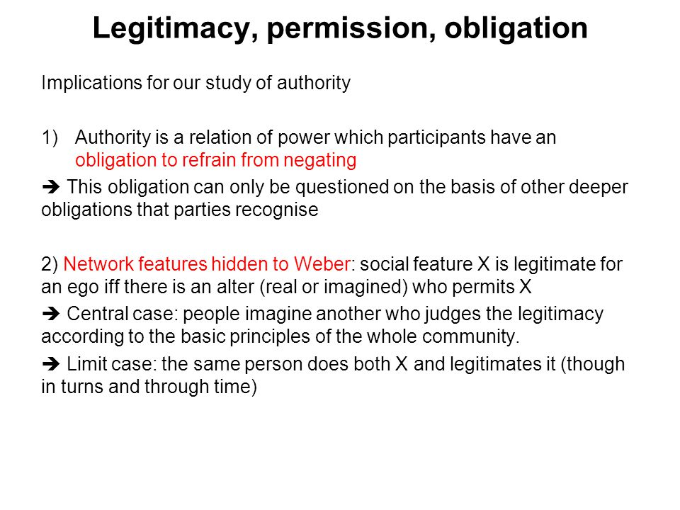 Legitimacy, permission, obligation Implications for our study of authority 1)Authority is a relation of power which participants have an obligation to
