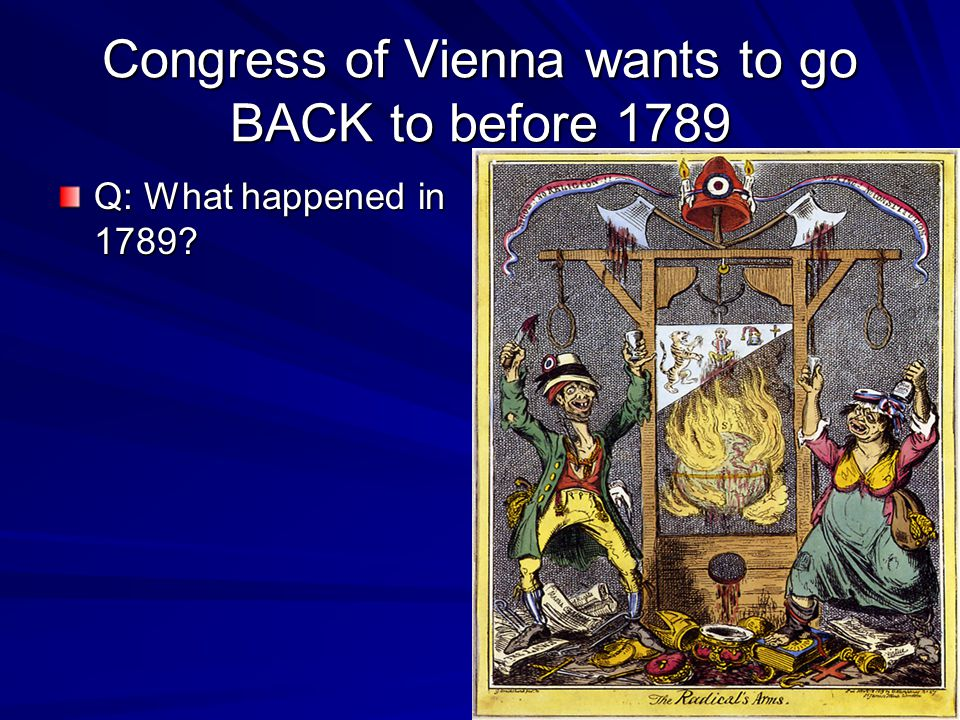 Congress of Vienna wants to go BACK to before 1789 Q: What happened in 1789