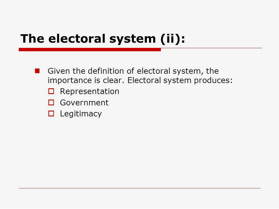 Main elements of electoral systems  To analyse electoral systems we focus on different elements of it: Those primarily related to the expression of preferences (electoral register, campaign regulations, ballot paper) Those primarily related to the conversion of votes into political power.