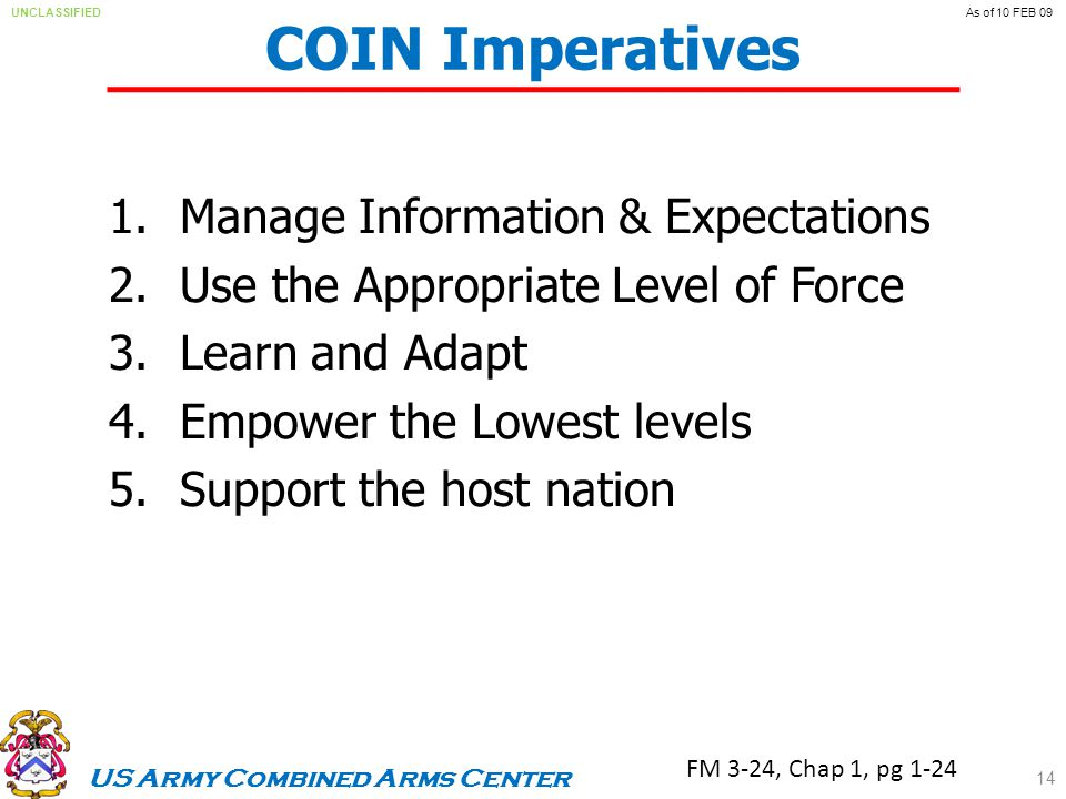 US Army Combined Arms Center UNCLASSIFIEDAs of 10 FEB 09 COIN Imperatives 1.Manage Information & Expectations 2.Use the Appropriate Level of Force 3.Learn and Adapt 4.Empower the Lowest levels 5.Support the host nation FM 3-24, Chap 1, pg 1-24 14