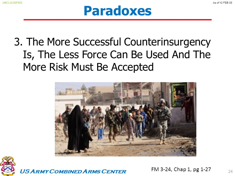 US Army Combined Arms Center UNCLASSIFIEDAs of 10 FEB 09 Paradoxes 3.