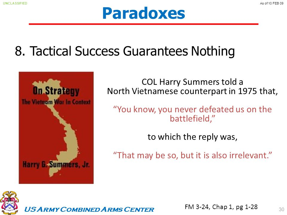 US Army Combined Arms Center UNCLASSIFIEDAs of 10 FEB 09 Paradoxes 8.