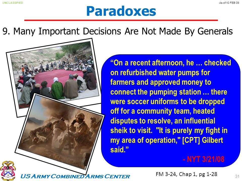 US Army Combined Arms Center UNCLASSIFIEDAs of 10 FEB 09 Paradoxes 9.