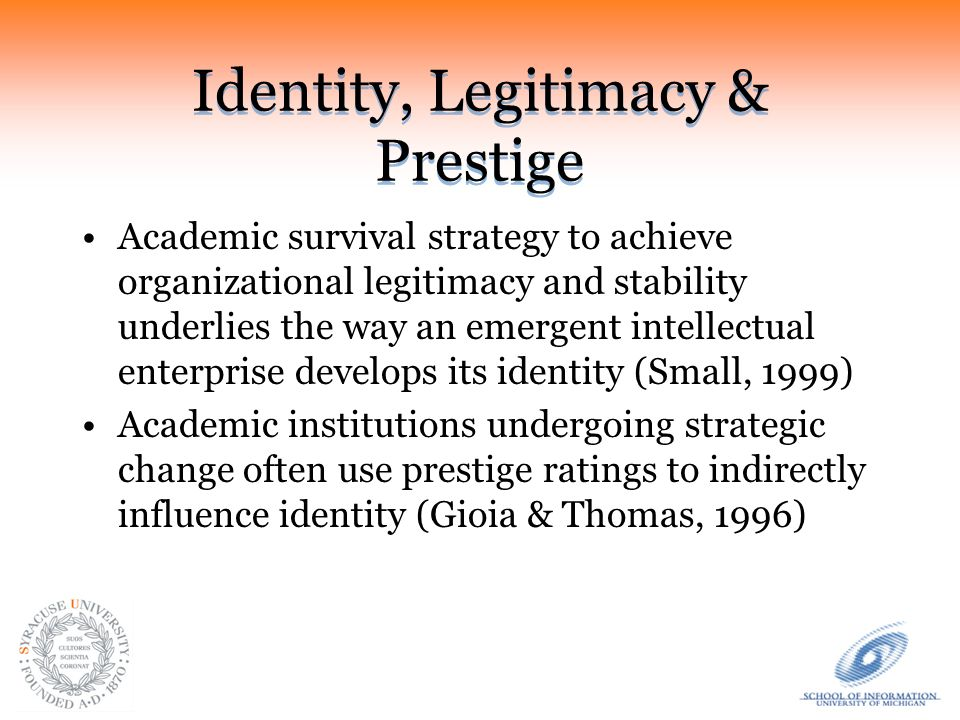 Prestige in Academic Hiring Departmental prestige is shown to be an effect of the department's position in PhD hiring networks in: –Management (Bedeian & Feild, 1980) –Finance (Bair, 2003) –Sociology, history & political science (Burris, 2004) –Sociology (Baldi, 2005) –Political science (Fowler et al, 2007)