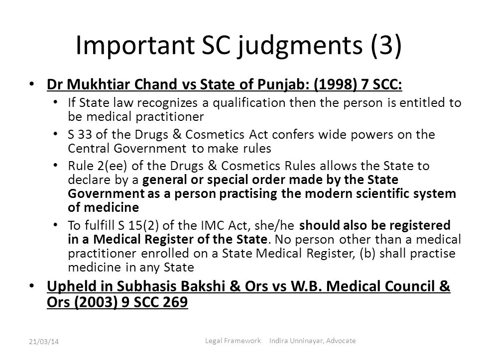 Important SC judgments (3) Dr Mukhtiar Chand vs State of Punjab: (1998) 7 SCC: If State law recognizes a qualification then the person is entitled to