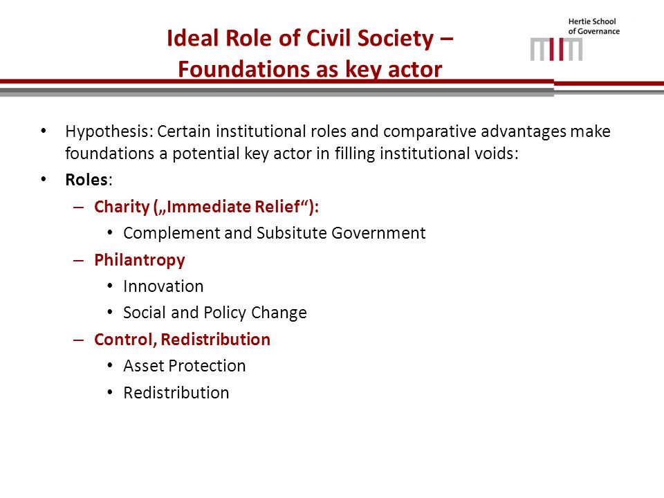 "Ideal Role of Civil Society – Foundations as key actor Hypothesis: Certain institutional roles and comparative advantages make foundations a potential key actor in filling institutional voids: Roles: – Charity (""Immediate Relief ): Complement and Subsitute Government – Philantropy Innovation Social and Policy Change – Control, Redistribution Asset Protection Redistribution"