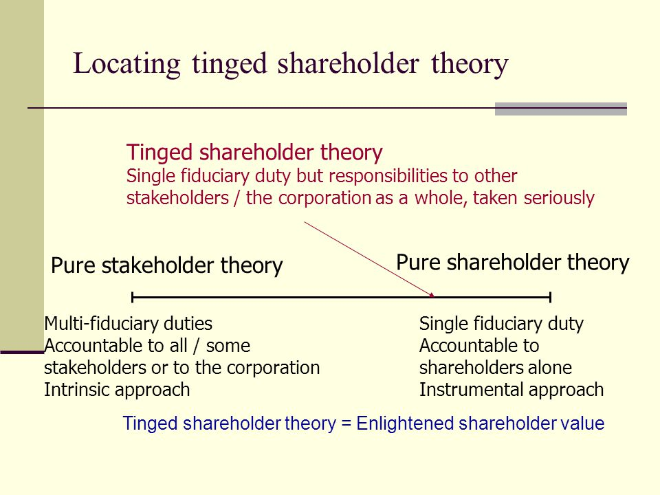Locating tinged shareholder theory Pure stakeholder theory Multi-fiduciary duties Accountable to all / some stakeholders or to the corporation Intrins
