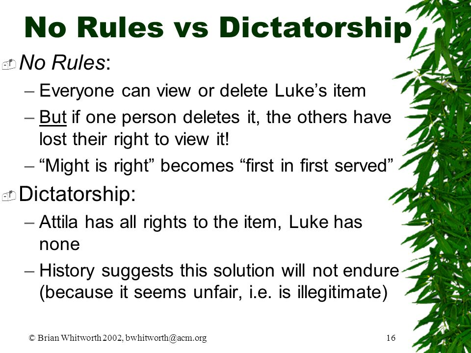 © Brian Whitworth 2002, bwhitworth@acm.org16 No Rules vs Dictatorship  No Rules: –Everyone can view or delete Luke's item –But if one person deletes