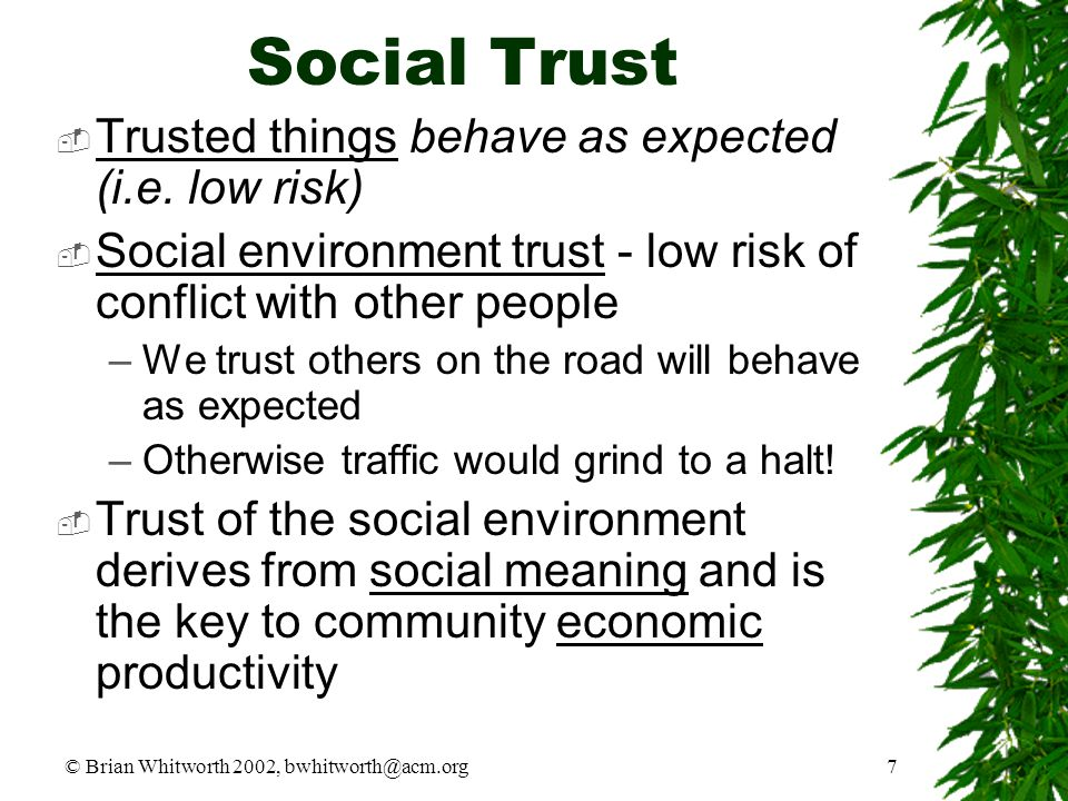 © Brian Whitworth 2002, bwhitworth@acm.org7 Social Trust  Trusted things behave as expected (i.e. low risk)  Social environment trust - low risk of