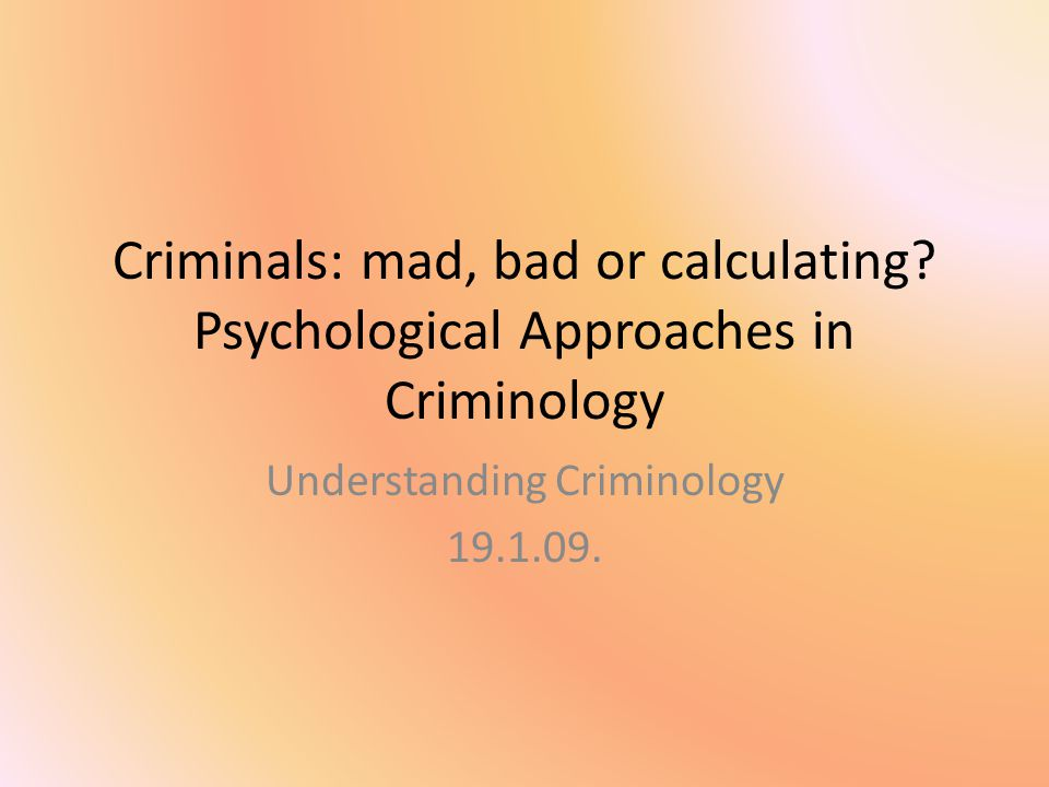 Physical or biological factors can be used to identify criminals from non-criminals Physiology / Phrenology Lombroso: physical characteristics signalling a lower stage of development associated with criminality Charles Goring: comparison of recidivist criminals and 'non-criminals': the latter were two inches shorter and weighed 3-7 lbs.
