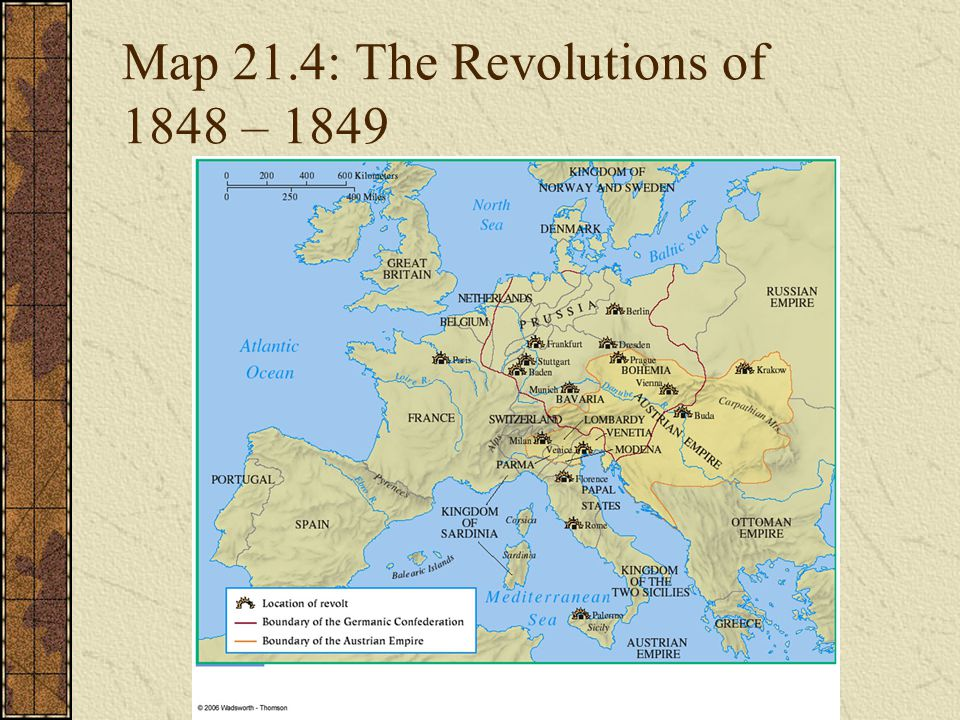 Map 21.4: The Revolutions of 1848 – 1849