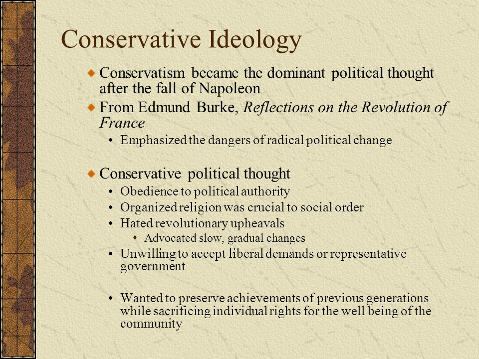 Conservative Domination: The European States Great Britain: Rule of the Tories Landowning classes dominate Parliament Tory and Whig factions; Tories dominate Corn Law of 1815 – placed a high tariff on foreign grain – put a financial strain on working classes Peterloo Massacre (1819) – military fired on English protesting high bread prices
