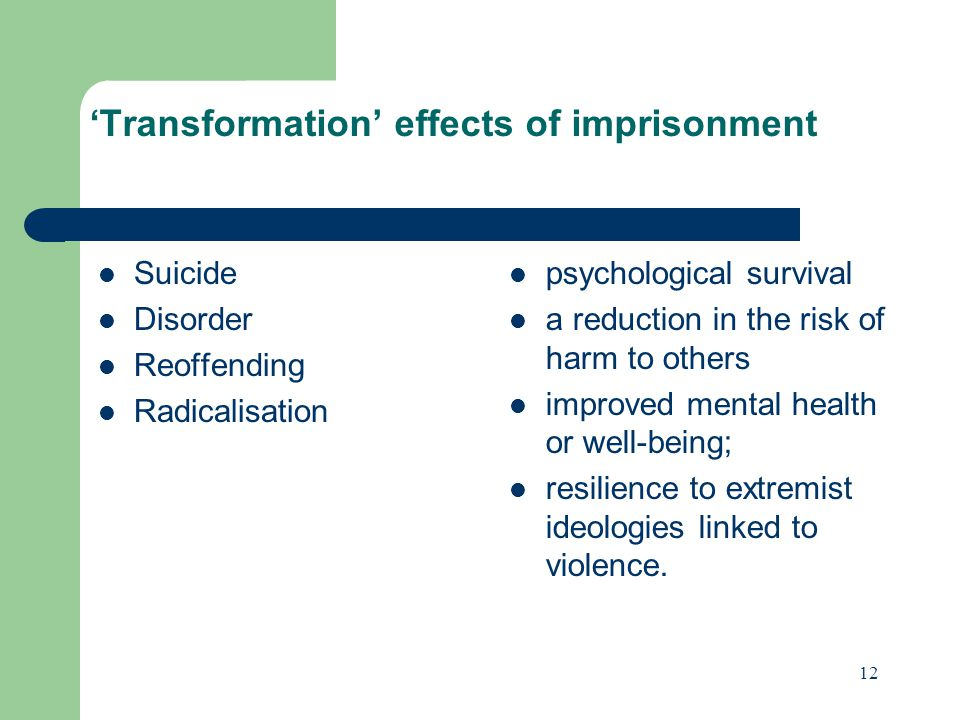 'Transformation' effects of imprisonment Suicide Disorder Reoffending Radicalisation psychological survival a reduction in the risk of harm to others improved mental health or well-being; resilience to extremist ideologies linked to violence.