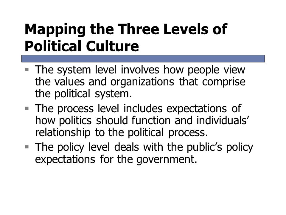 Mapping the Three Levels of Political Culture  The system level involves how people view the values and organizations that comprise the political sys