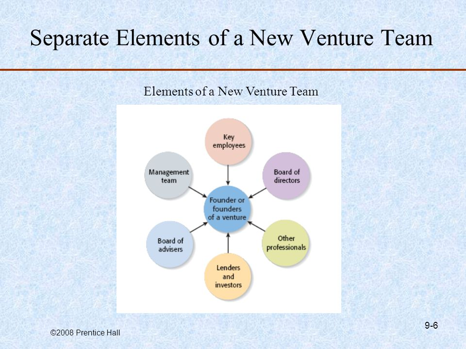 ©2008 Prentice Hall 9-6 Separate Elements of a New Venture Team Elements of a New Venture Team