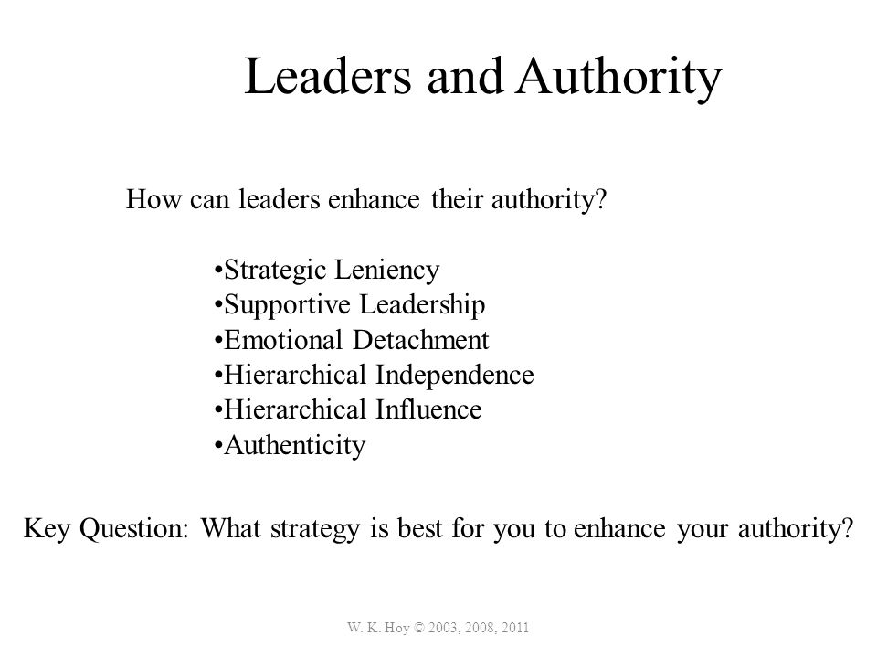 W. K. Hoy © 2003, 2008, 2011 Leaders and Authority How can leaders enhance their authority.