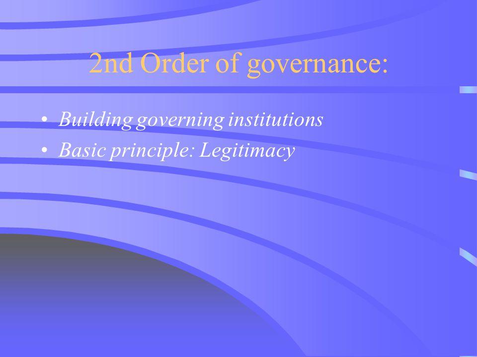 2nd Order of governance: Building governing institutions Basic principle: Legitimacy