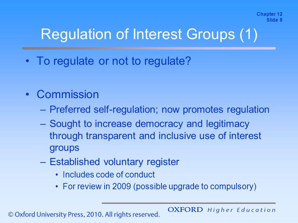 Regulation of Interest Groups (2) European Parliament –Concern re.