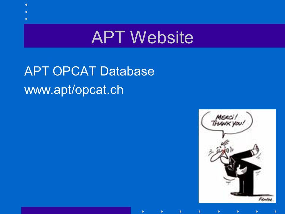APT Website APT OPCAT Database www.apt/opcat.ch