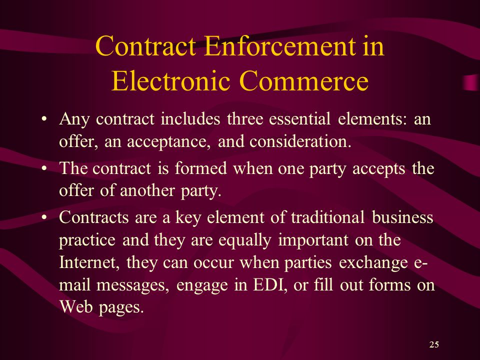 25 Contract Enforcement in Electronic Commerce Any contract includes three essential elements: an offer, an acceptance, and consideration. The contrac