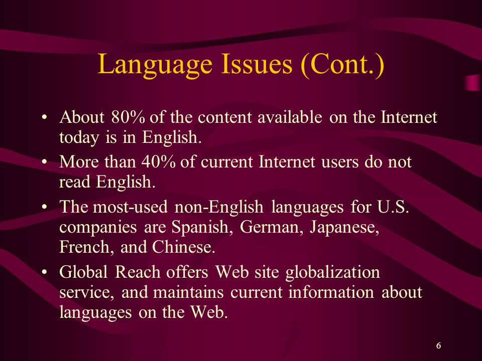6 Language Issues (Cont.) About 80% of the content available on the Internet today is in English.