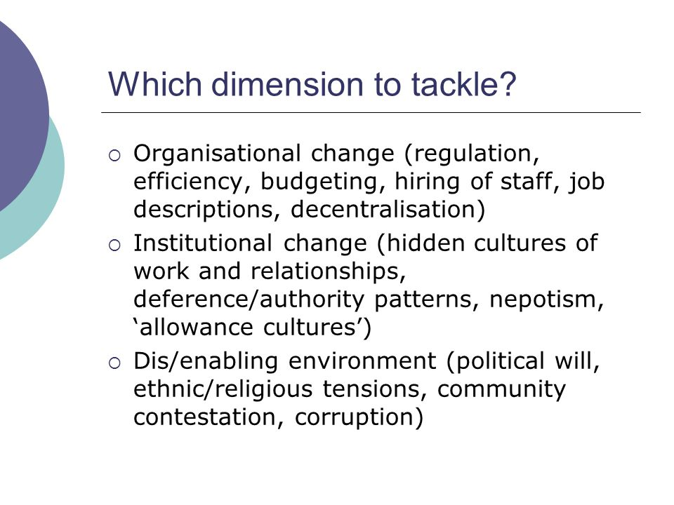 Which dimension to tackle?  Organisational change (regulation, efficiency, budgeting, hiring of staff, job descriptions, decentralisation)  Institut