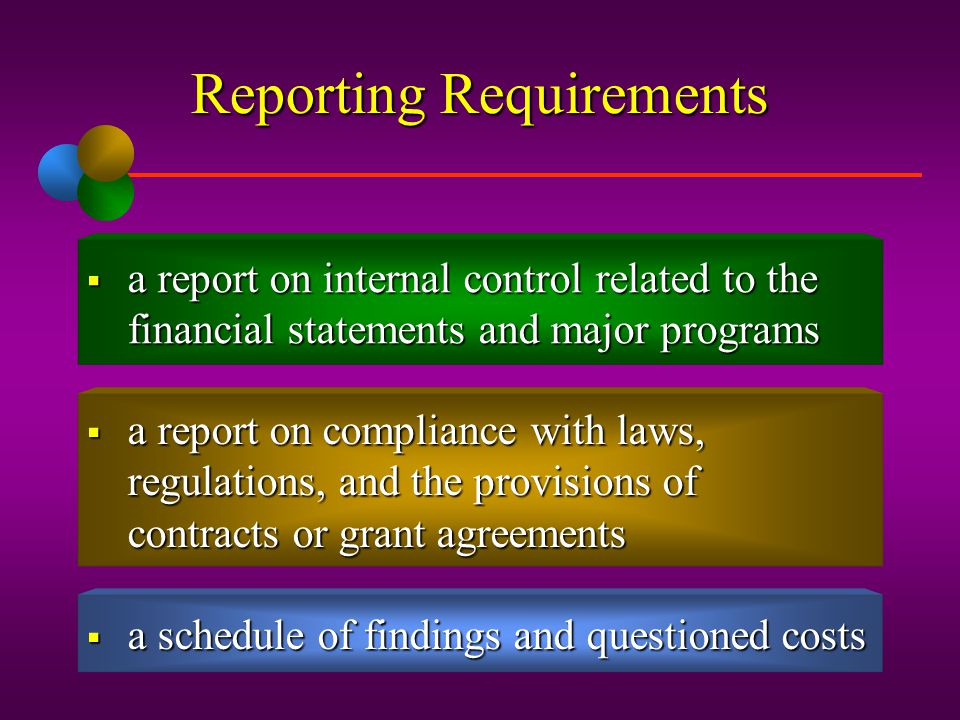 Reporting Requirements  an opinion on whether the financial statements are in accordance with GAAP, and an opinion as to whether the schedule of fede