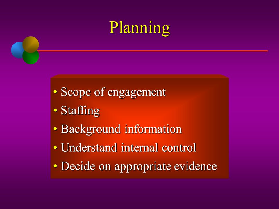 Phases in Operational Auditing Planning Evidence accumulation and evaluation Reporting and follow-up