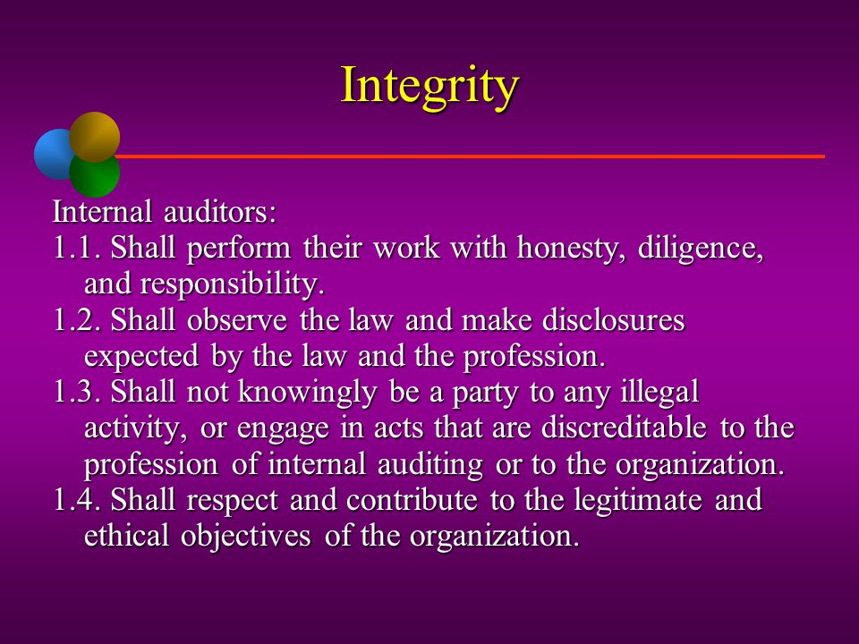 Institute of Internal Auditors Ethical Principles Integrity Confidentiality Objectivity Competency