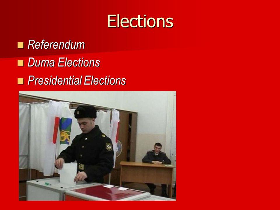 Elections Referendum Referendum Duma Elections Duma Elections Presidential Elections Presidential Elections